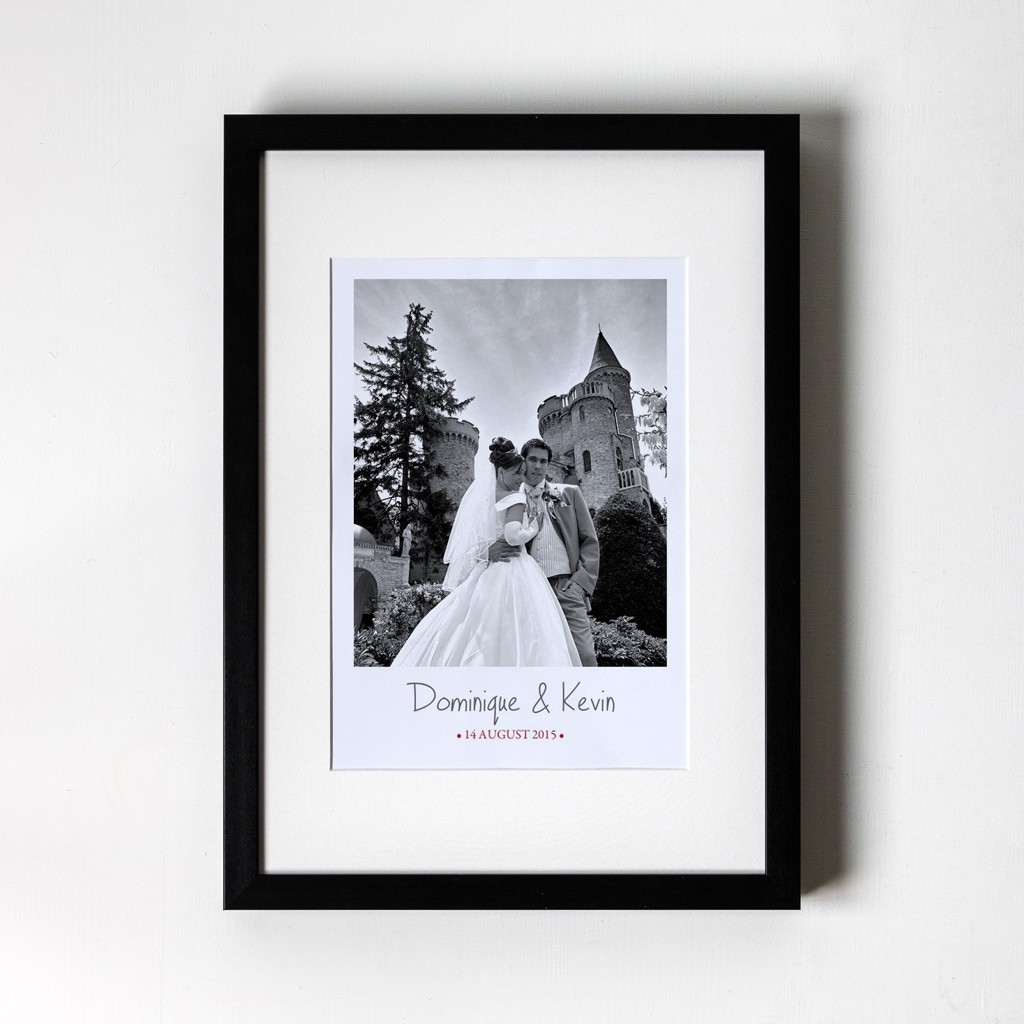 Large Photo Anniversary - Personalised Art Print (Black Frame)