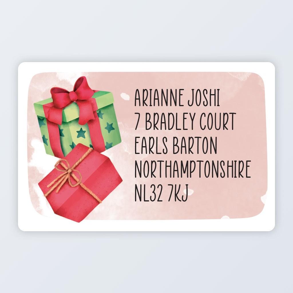 "Christmas Roll Address Label 76x50mm (3""x2"") Presents"