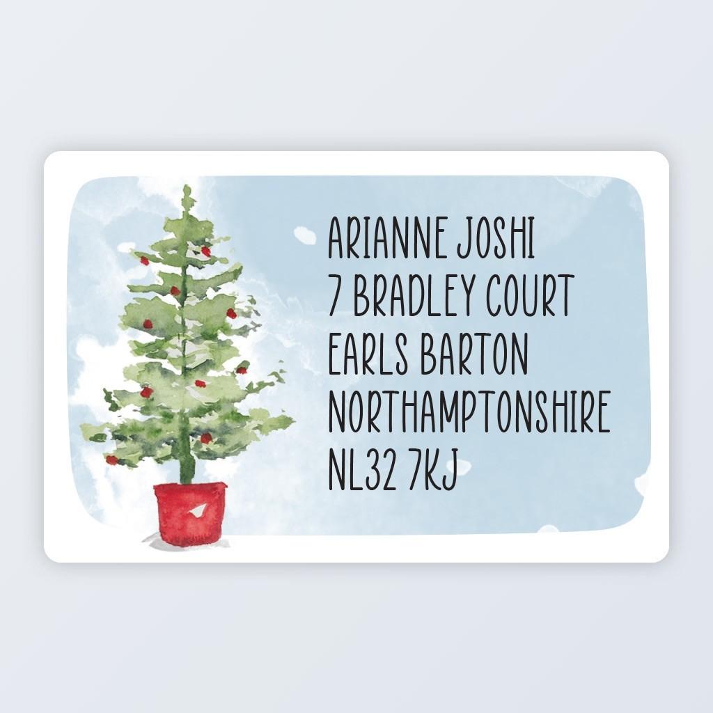 "Christmas Roll Address Label 76x50mm (3""x2"") Tree"