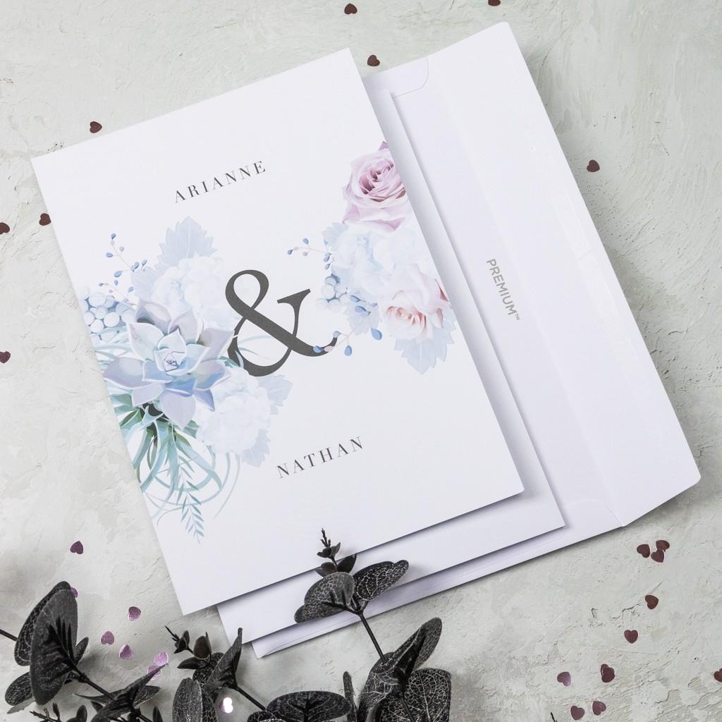 Pastel Floral Personalised Wedding Invitation