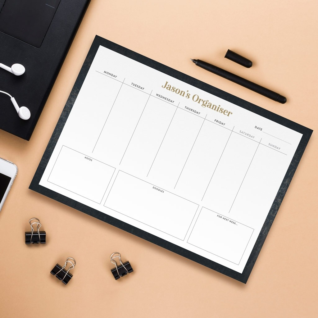 Personalised A4 Weekly Desk Pad - Distressed Design