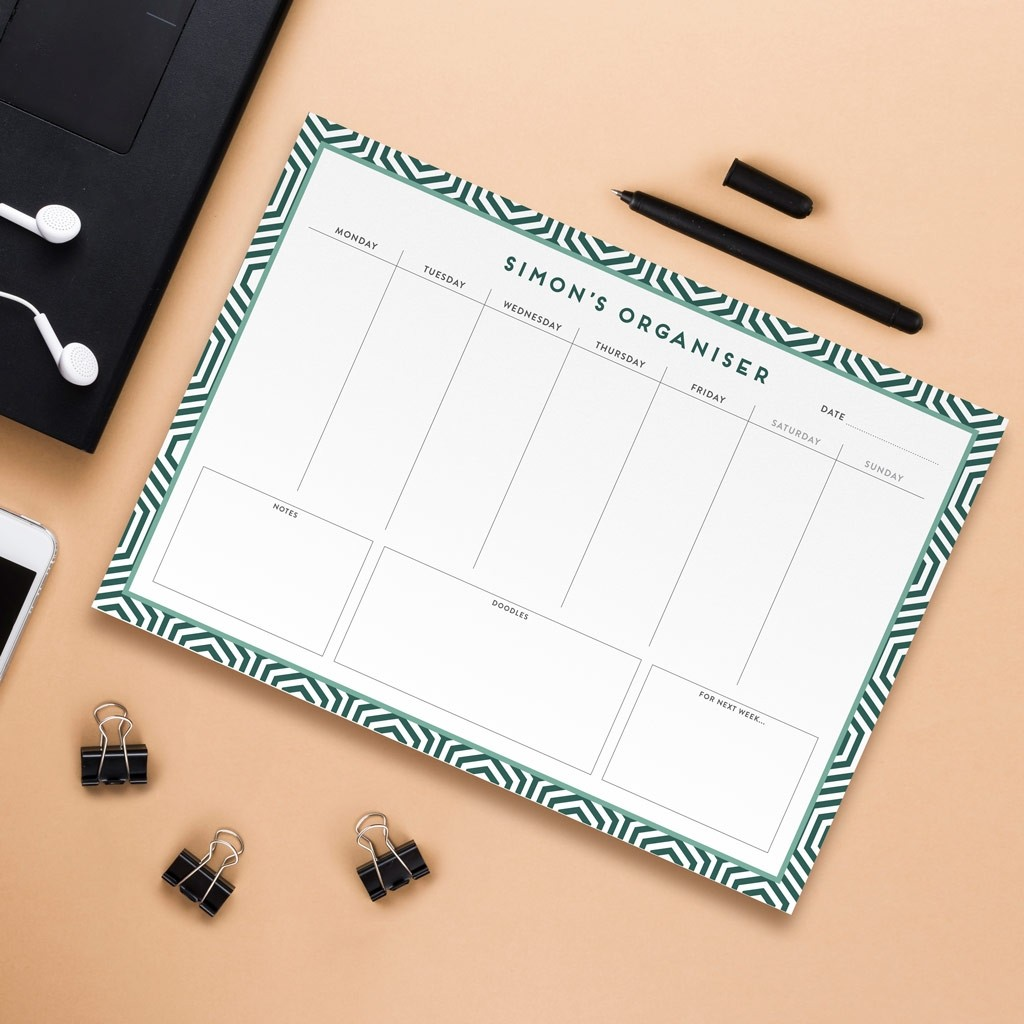 Personalised A4 Weekly Desk Pad - Geometric Design