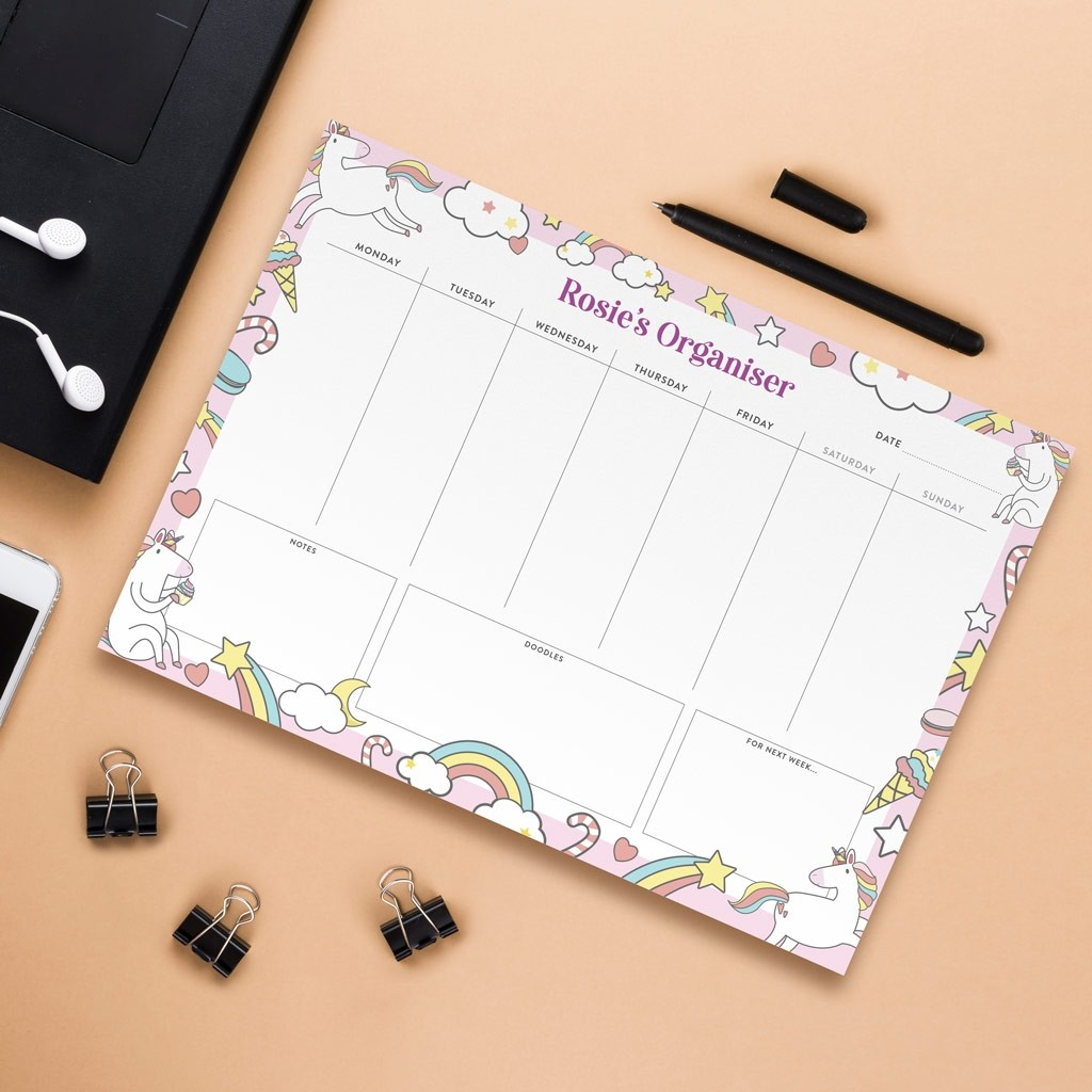 Personalised A4 Weekly Desk Pad - Unicorns Design