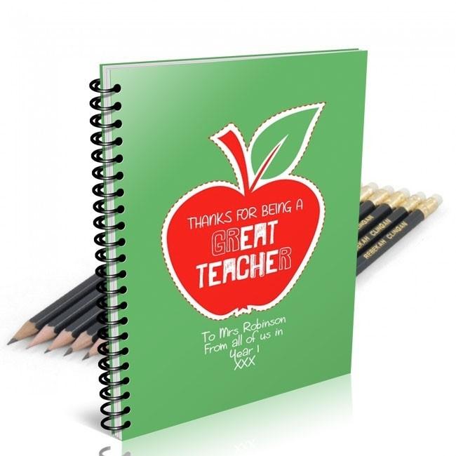 Apple Notebook & 12 Graphite Pencils
