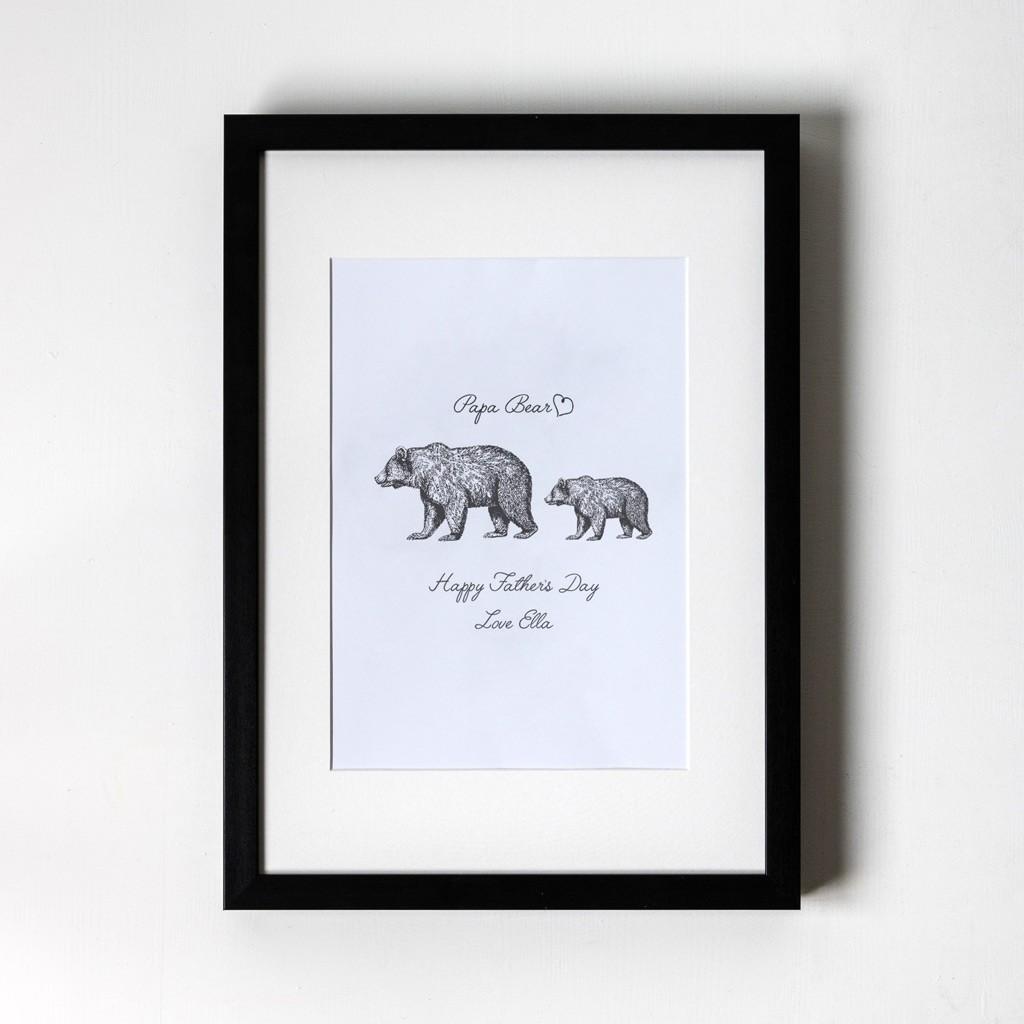 Papa Bear - Personalised Art Print (Black Frame)