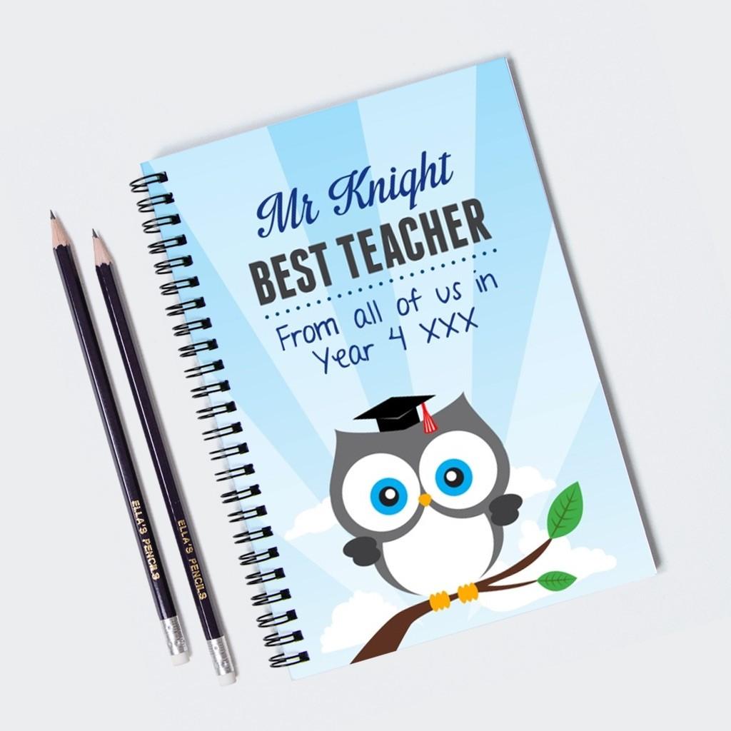 Owl Teacher Notebook & 12 Graphite Pencils
