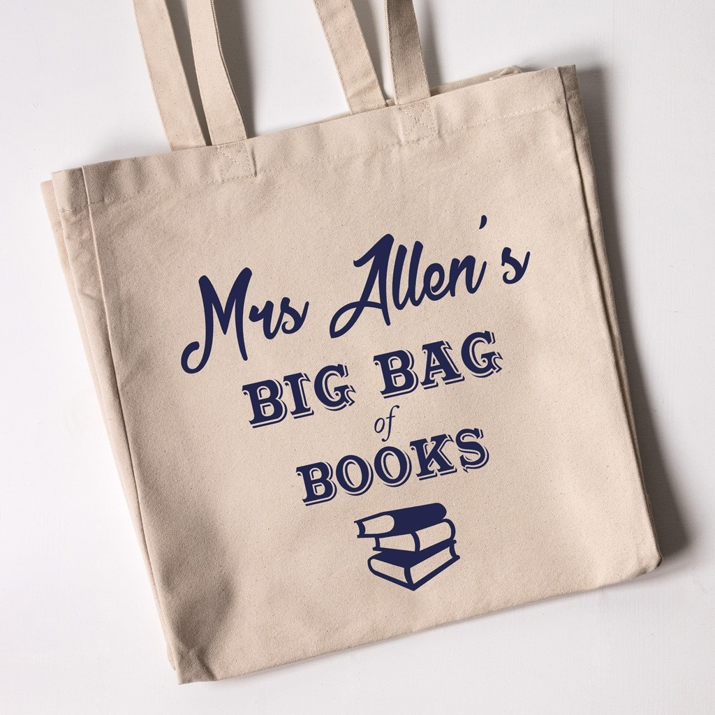 Teacher Tote Bag - Big Bag of Books (Natural)