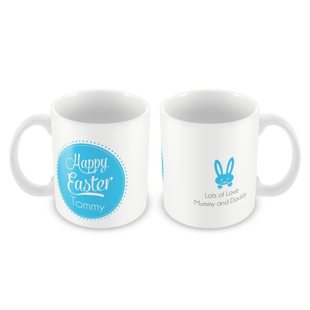 Blue Happy Easter Mug