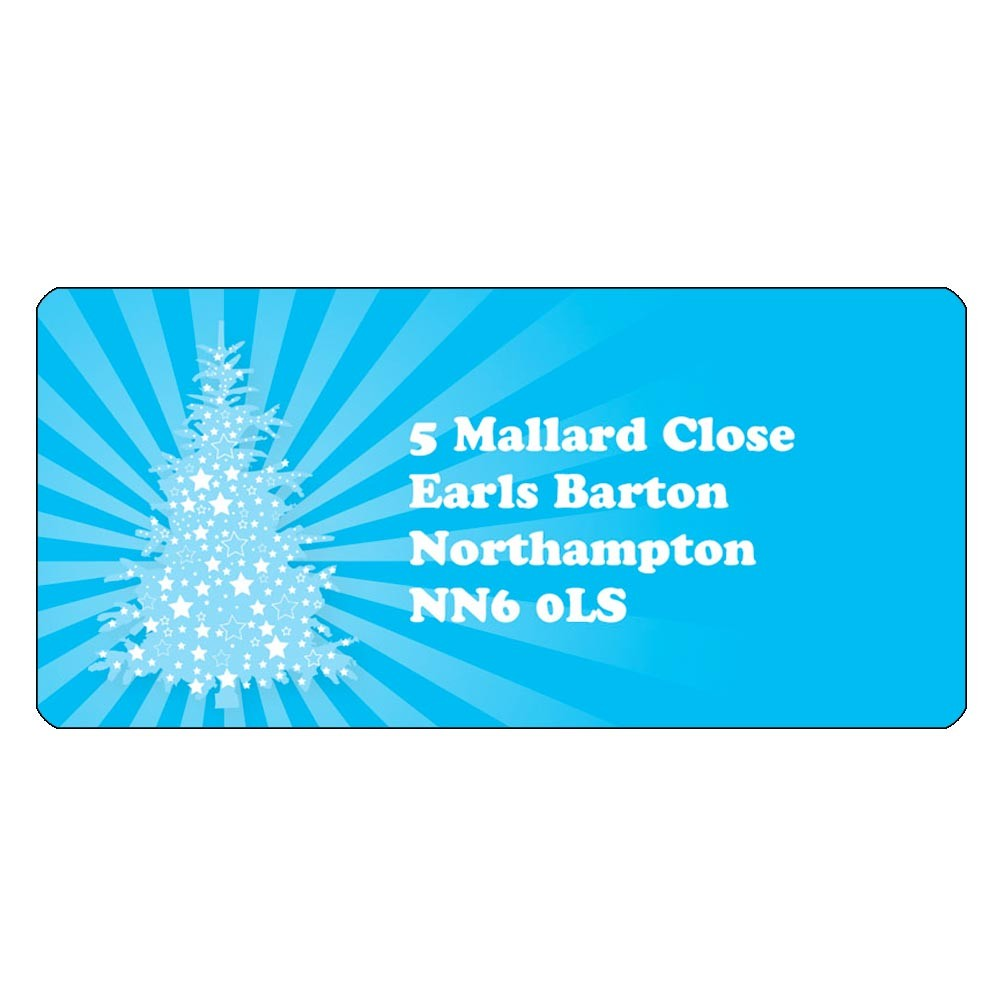 Christmas A4 Sheet Labels - Blue Tree