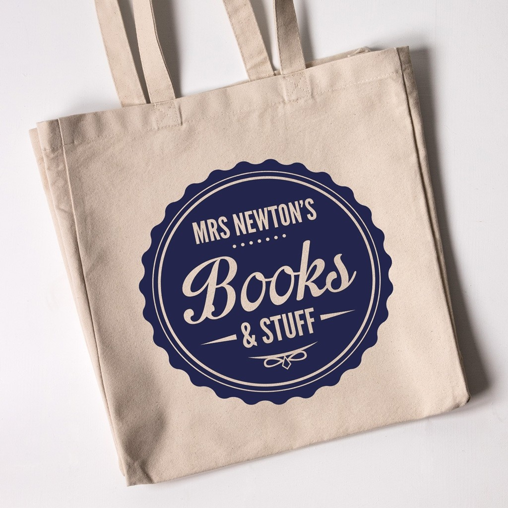Teacher Tote Bag - Books & Stuff (Natural)