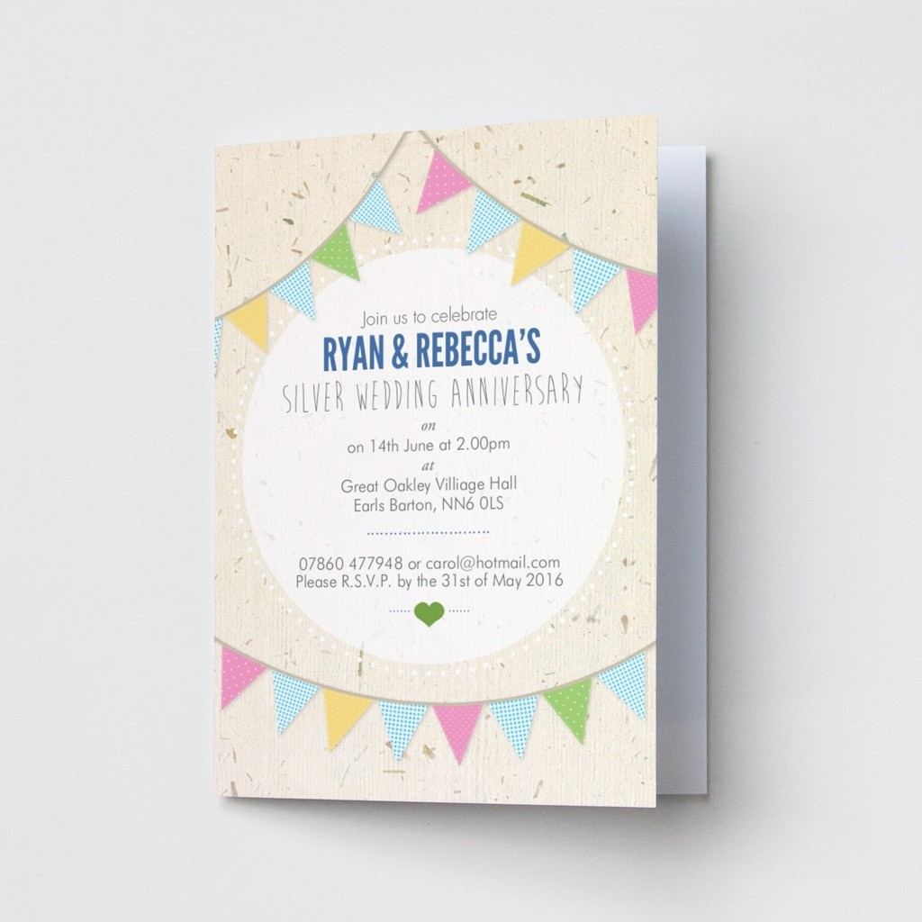 Bunting Anniversary - Party Invitations