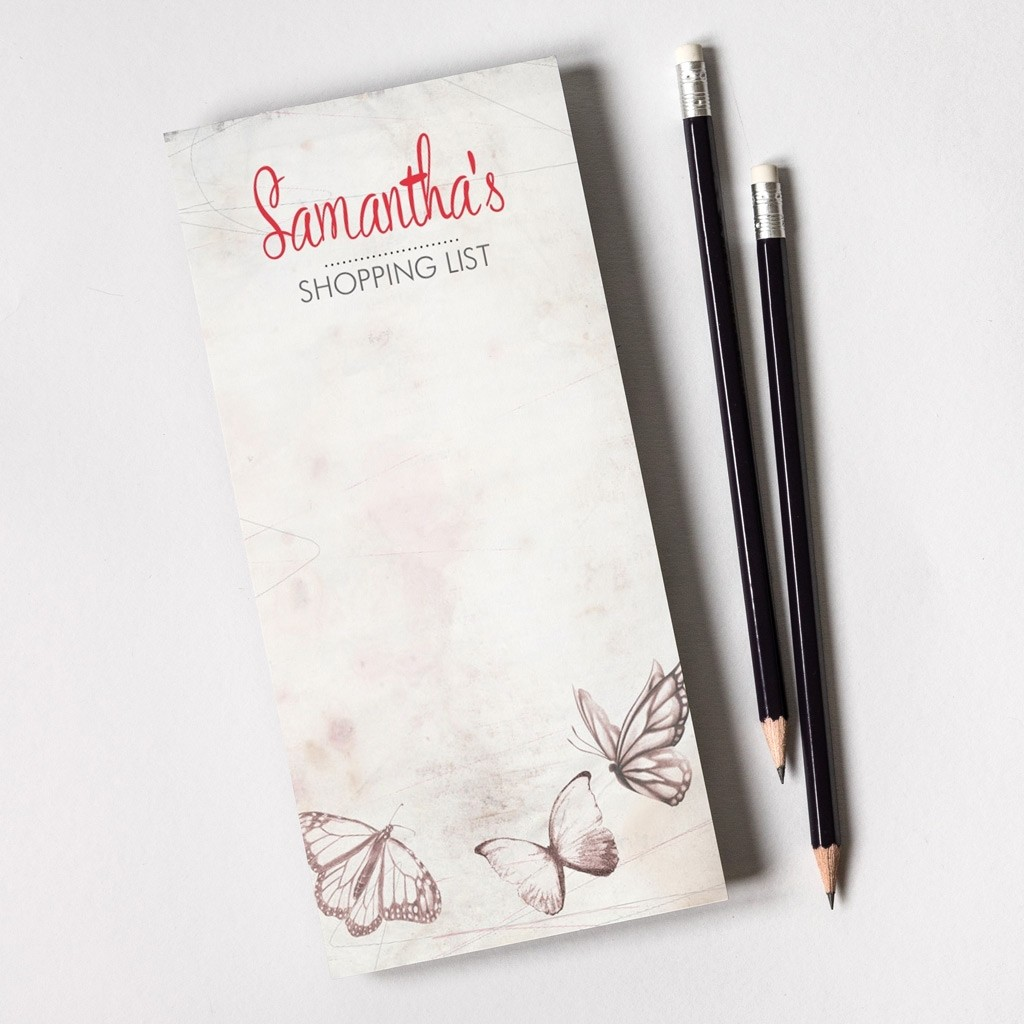 Tear Off Notepad and Plain Pencils - Butterfly Texture