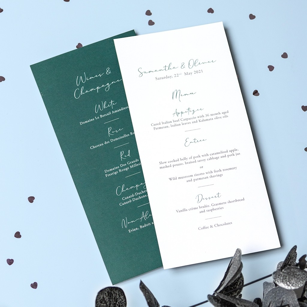 Calligraphy Personalised Menus