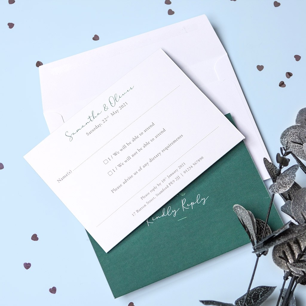 Calligraphy Personalised Reply Cards