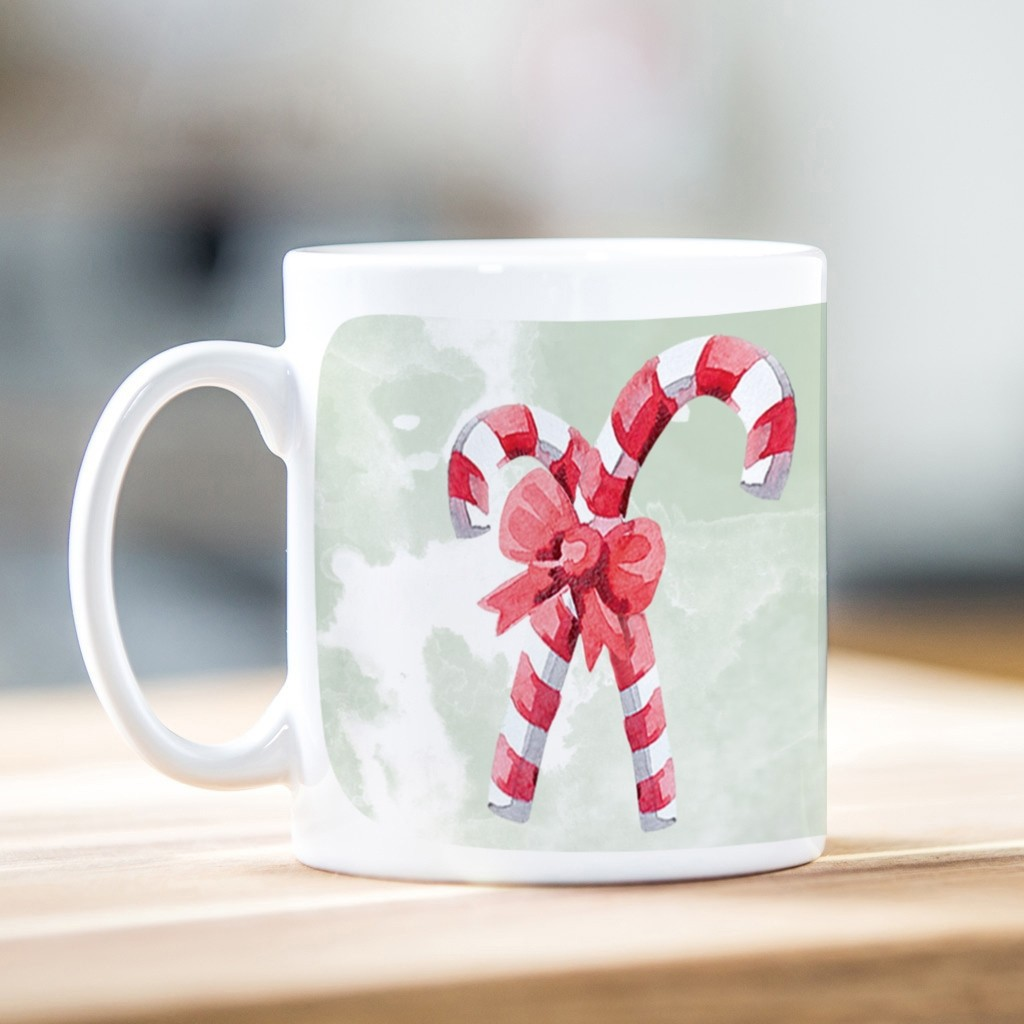 Watercolour Candy Cane Christmas Mug