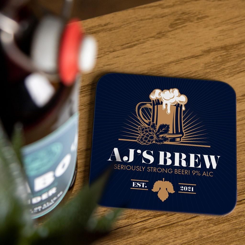 Personalised Beer Coaster Set - Design 01