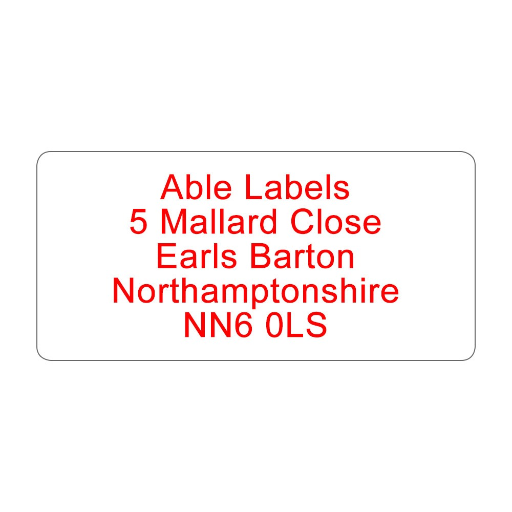 Colour Text Standard Address Label A4 Sheets