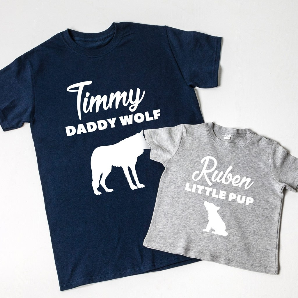Daddy Wolf & Little Pup T-shirt Set