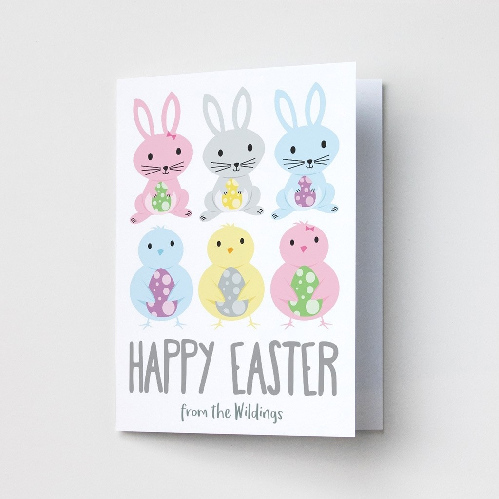Easter Bunny and Chick Easter Cards