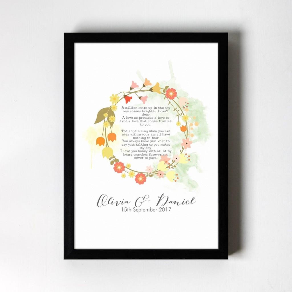 Floral Wreath Personalised Art Print
