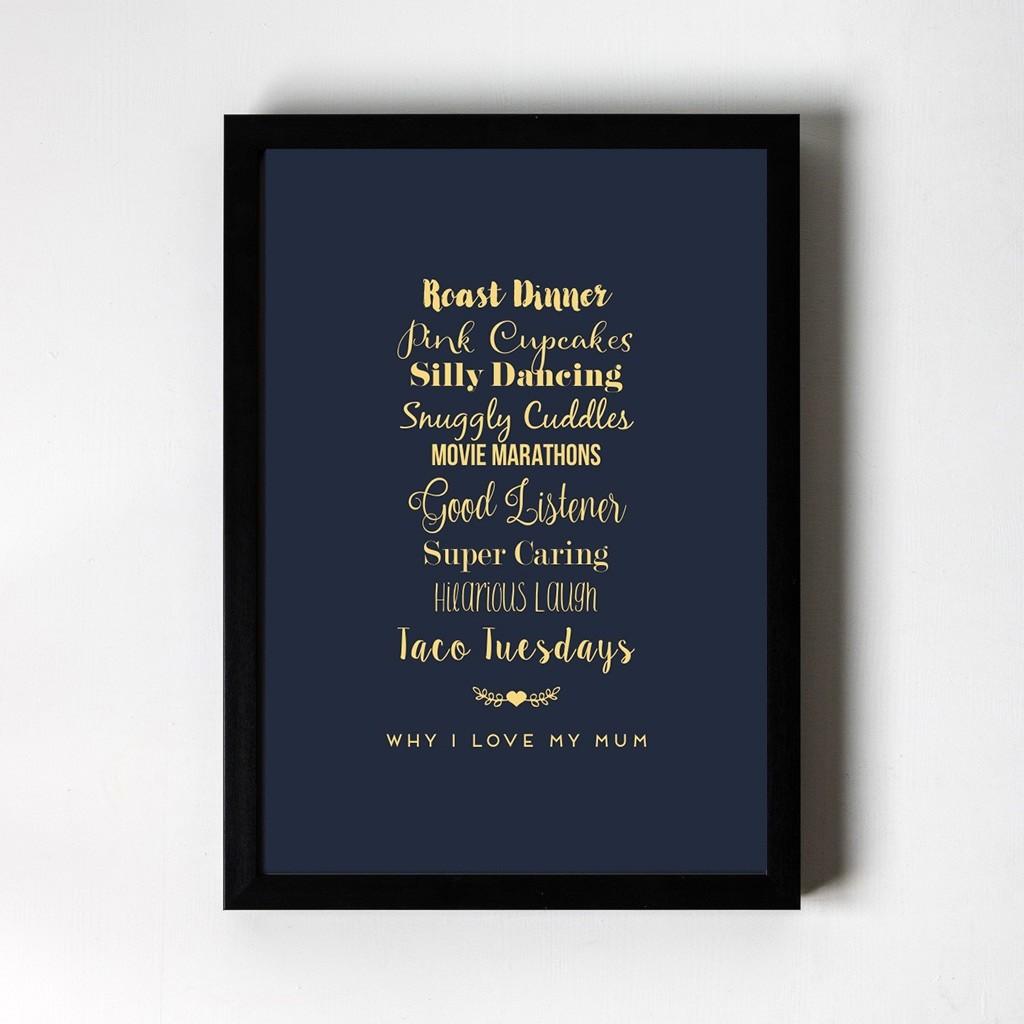 Personalised Foiled Art Print - Why I love... Swirly Font - Black Frame