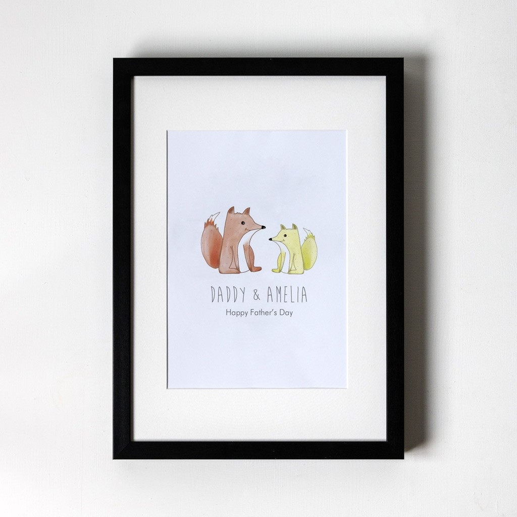Foxes - Personalised Art Print (Black Frame)