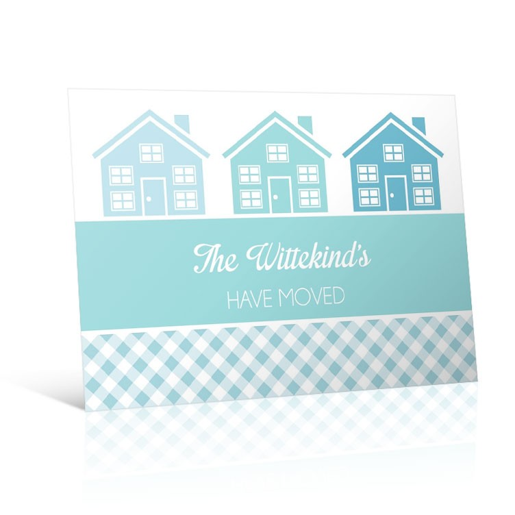 Gingham Houses - Change of Address Postcard