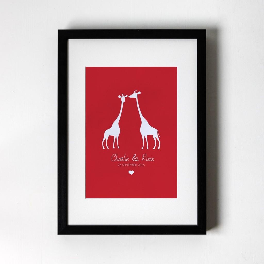 Giraffe Design - Personalised Art Print (Black Frame)