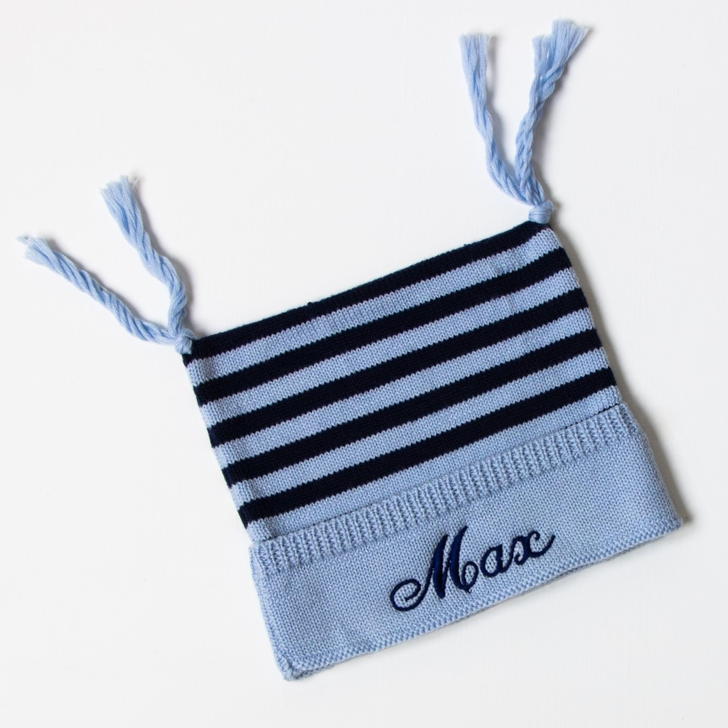 Luxury Merino Wool Stripy Hat - Stripy Blue