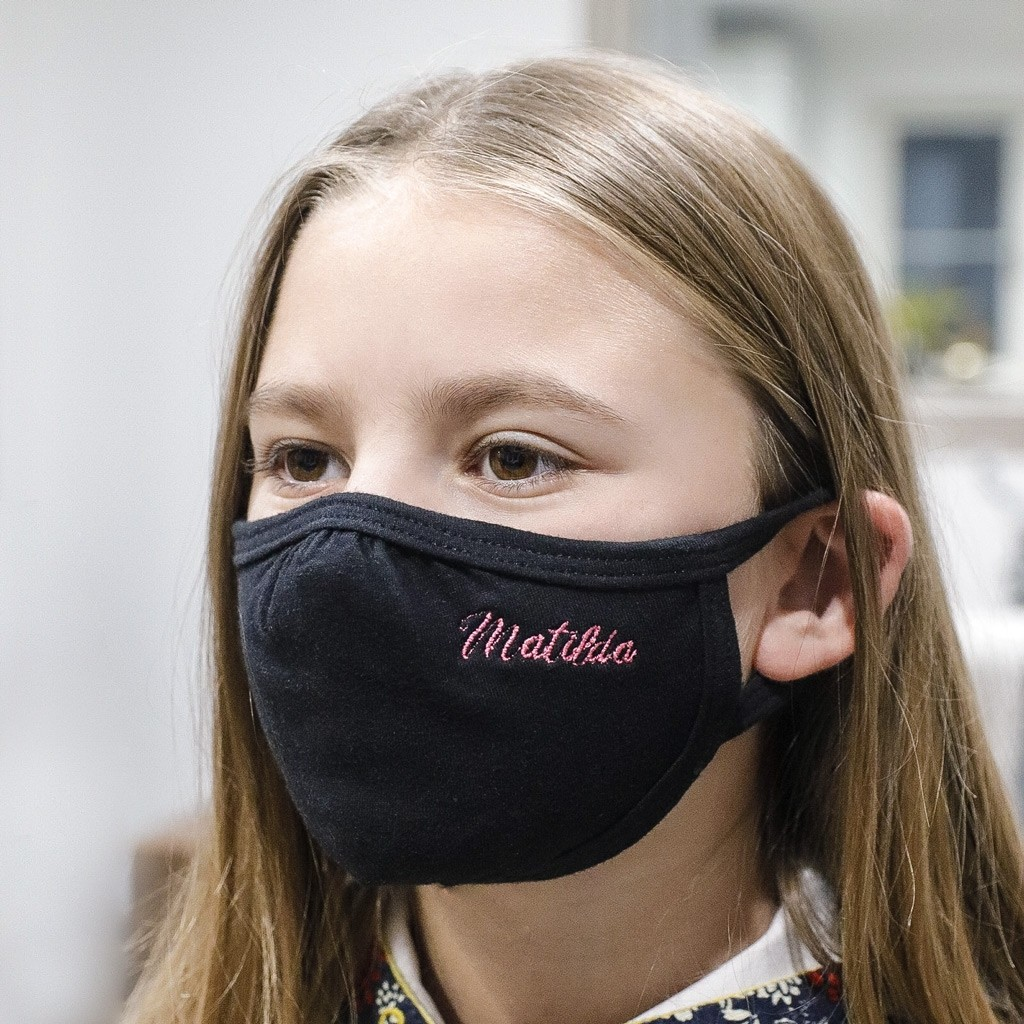 Personalised Embroidered Children's 100% Cotton Face Mask