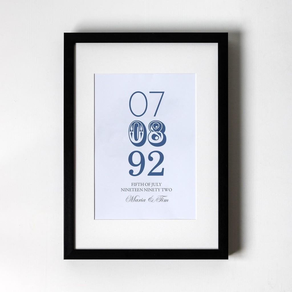 Memorable Date - Personalised Art Print (Black Frame)