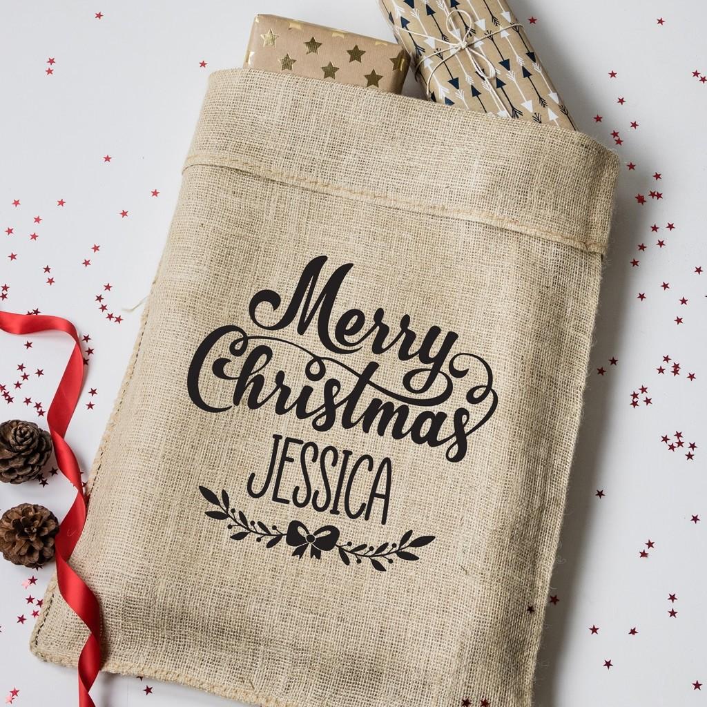 Personalised Merry Christmas Hessian Sack
