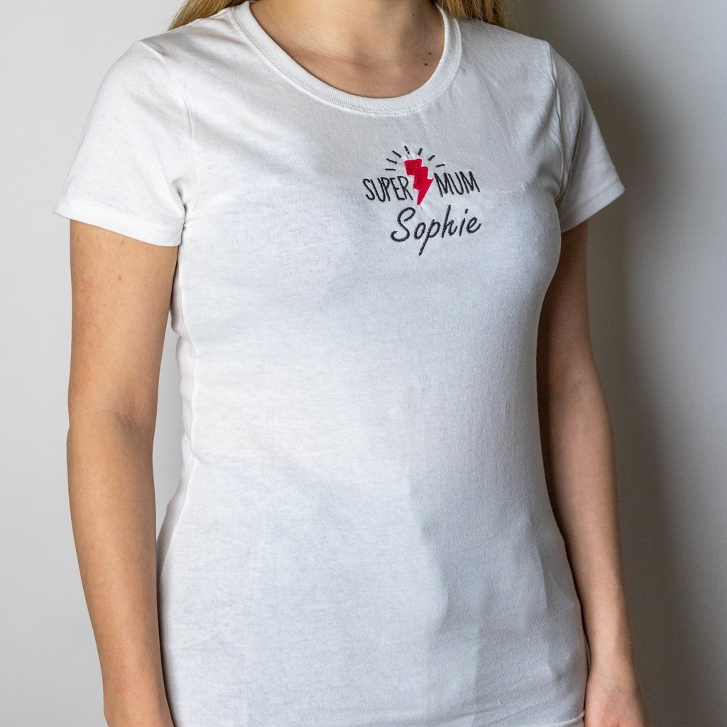 "Personalised Embroidered ""Super Mum"" Mother's Day T-Shirt"