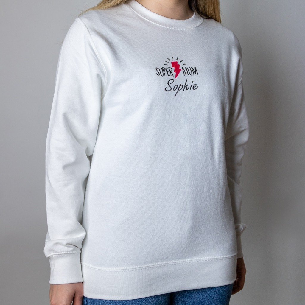 """Personalised Embroidered """"Super Mum"""" Mother's Day Sweater"""