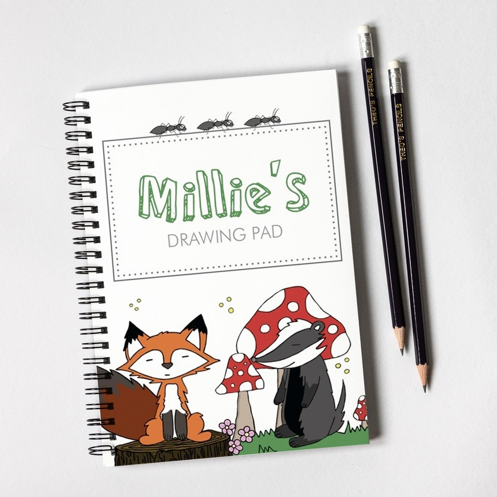 Fox & Badger Notebook & Pencil Gift Set