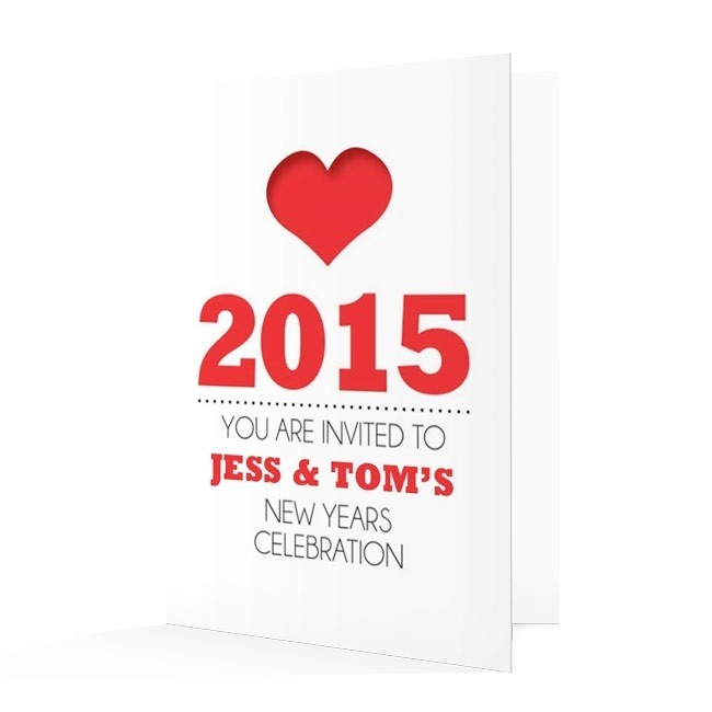 New Year's Invitation Card - Heart