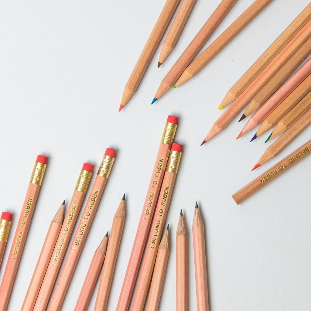 Natural Wood Personalised Pencil Pack