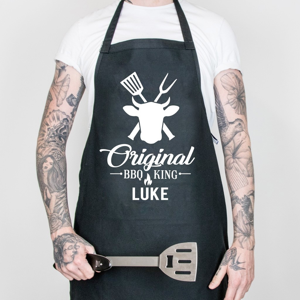 Personalised Original BBQ King Apron - Black