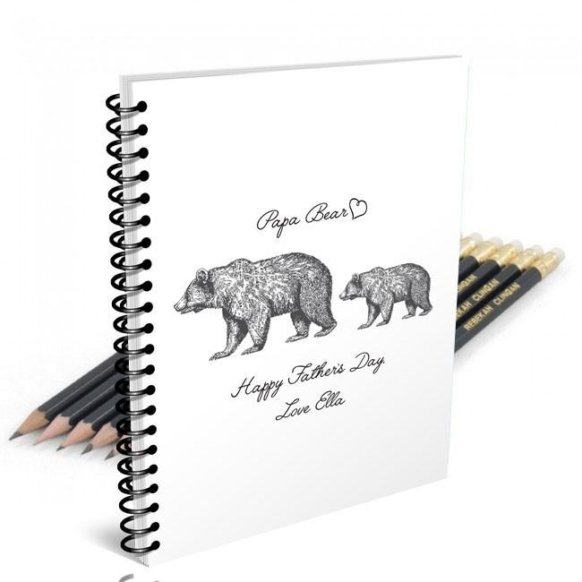 Papa Bear Notebook & 12 Graphite Pencils