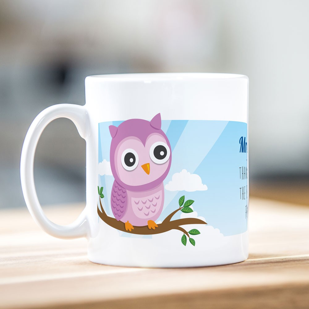 Pink Owl Teacher Mug