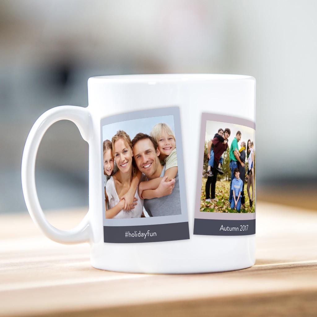 Retro style photo mug (three photos)