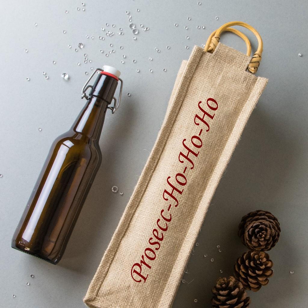 Christmas Bottle Bag - Prosecc-Ho-Ho-Ho