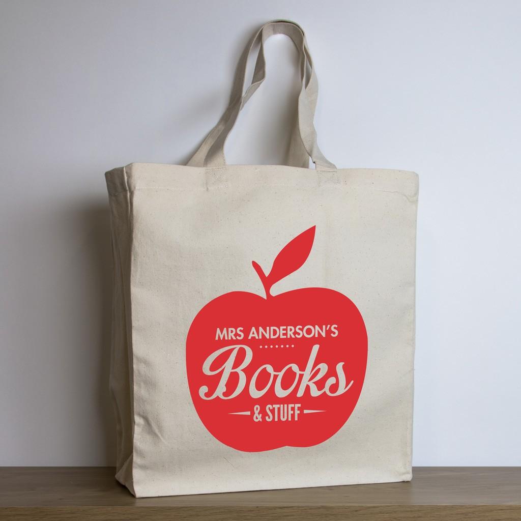 Personalised Teacher Tote Bag – Red Apple