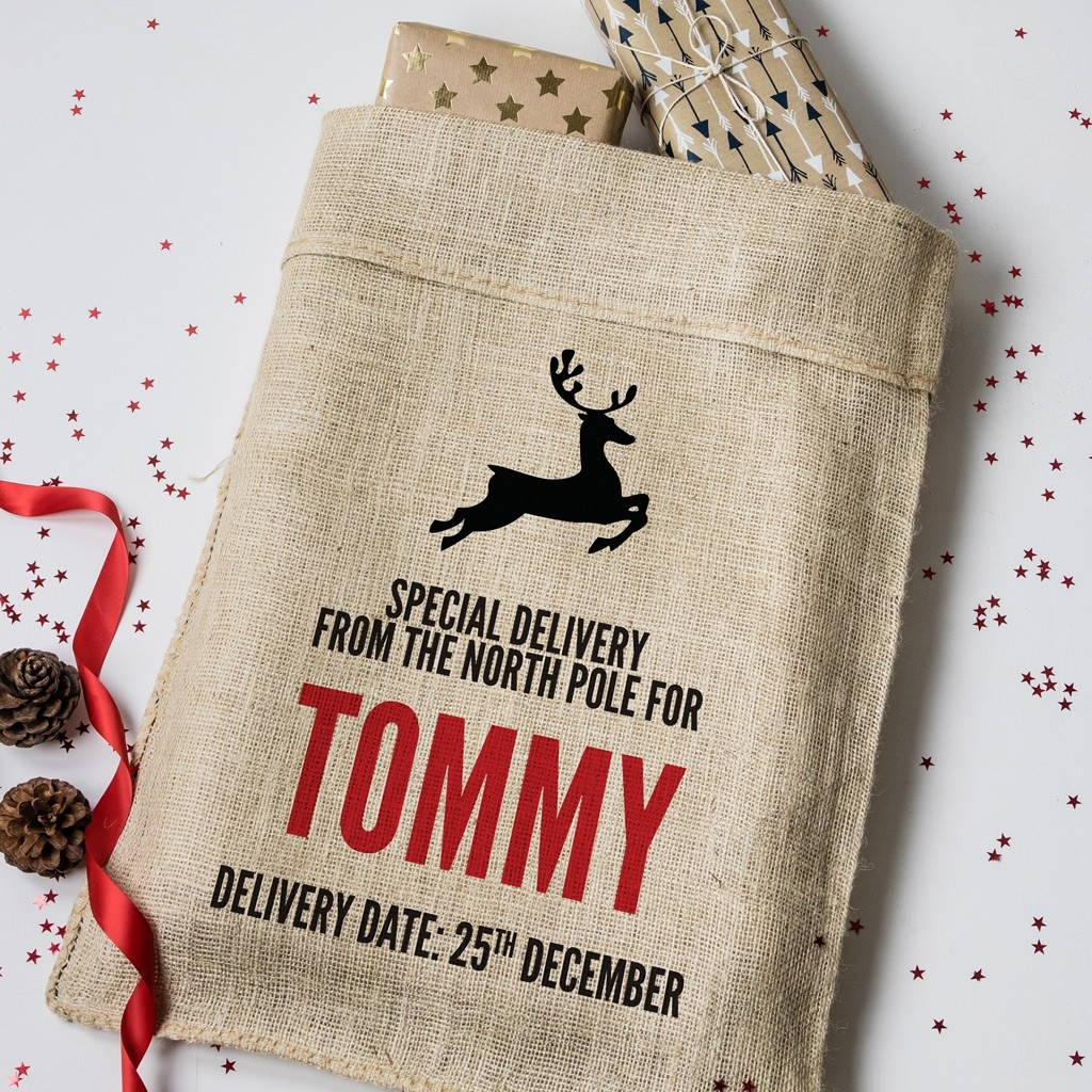 Personalised Christmas Reindeer Hessian Sack