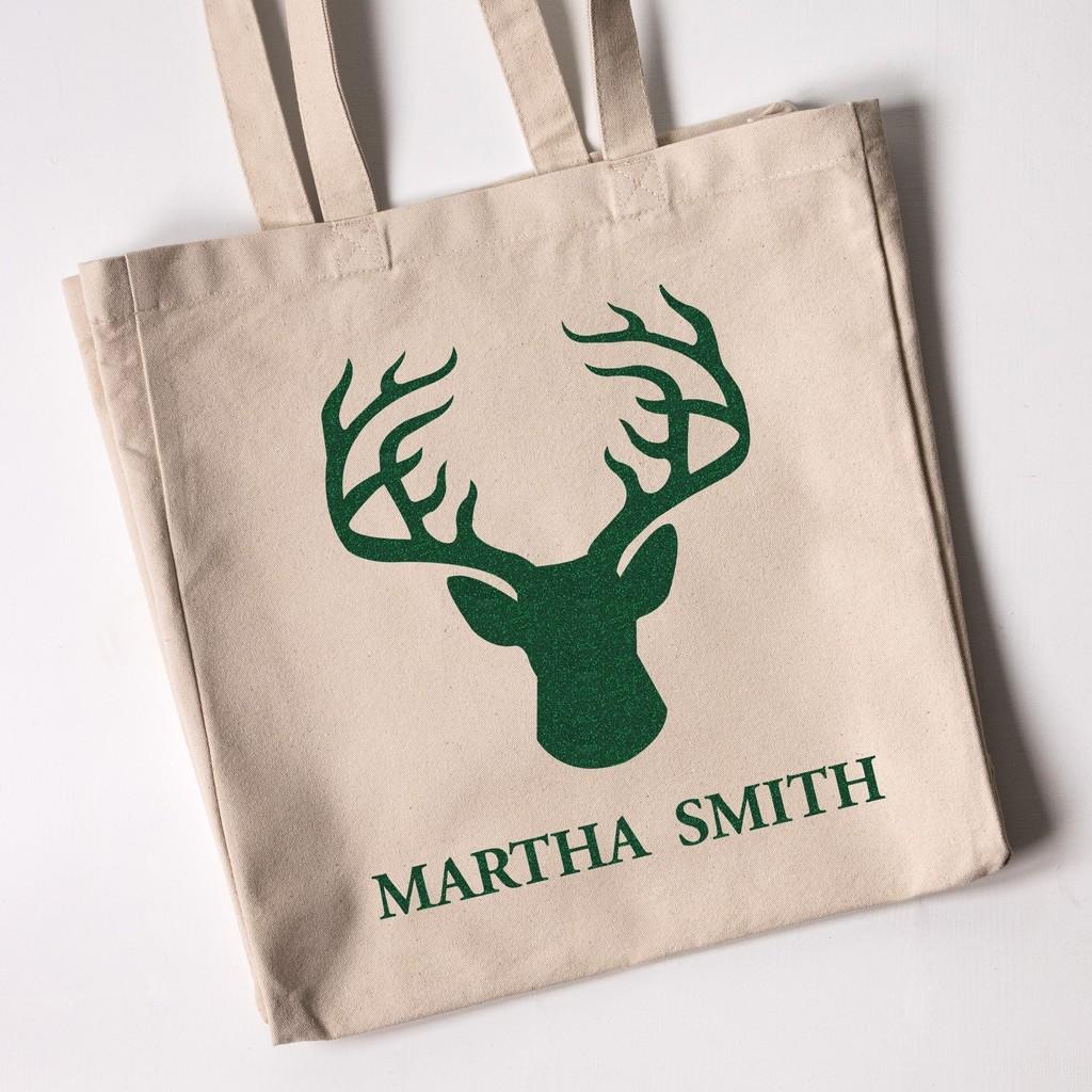 Reindeer Silhouette - Christmas Personalised Tote Bag