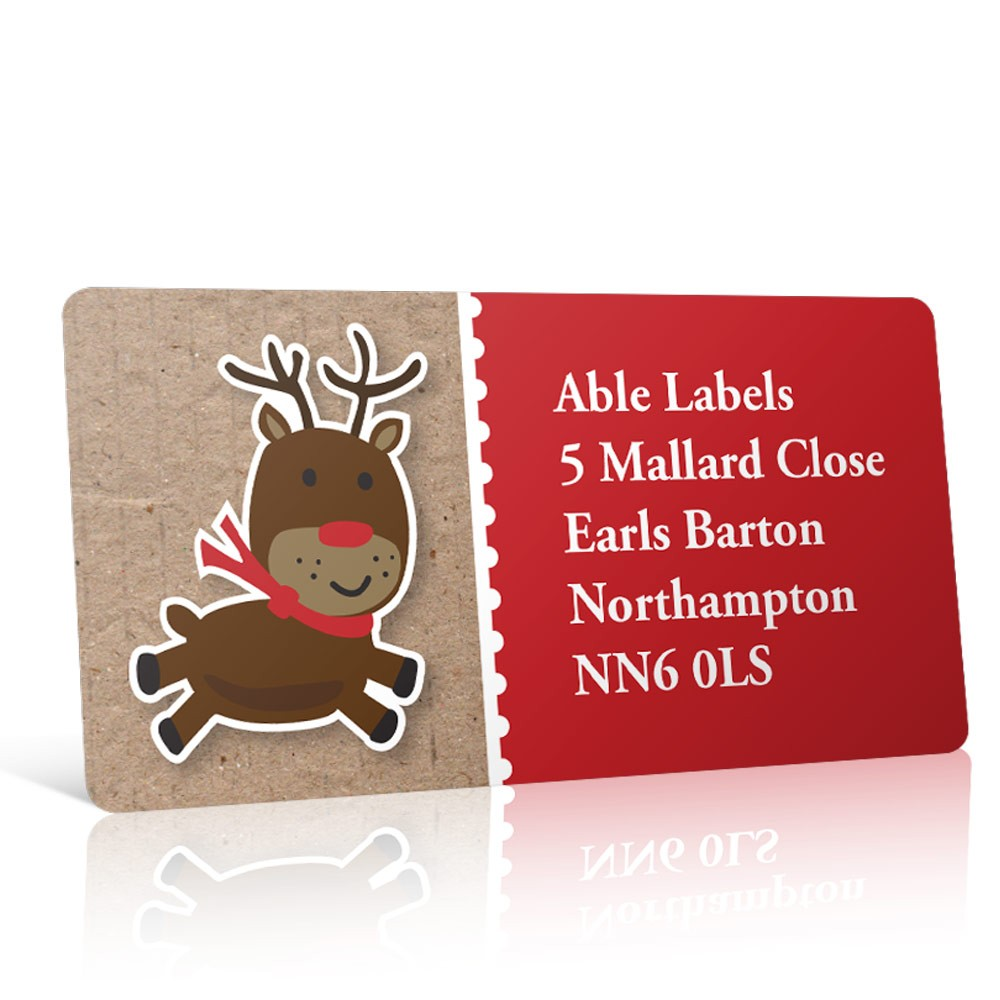 Christmas A4 Sheet Labels - Reindeer Cartoon