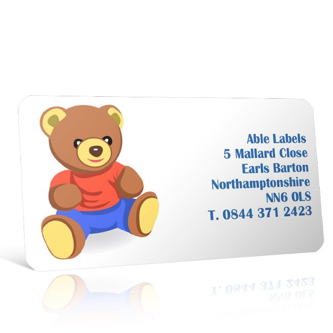 Pre Designed Teddy Bear Address Label on A4 Sheets