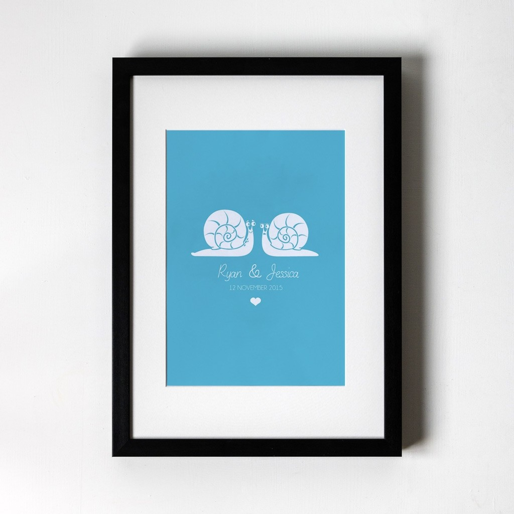 Snail Design - Personalised Art Print (Black Frame)