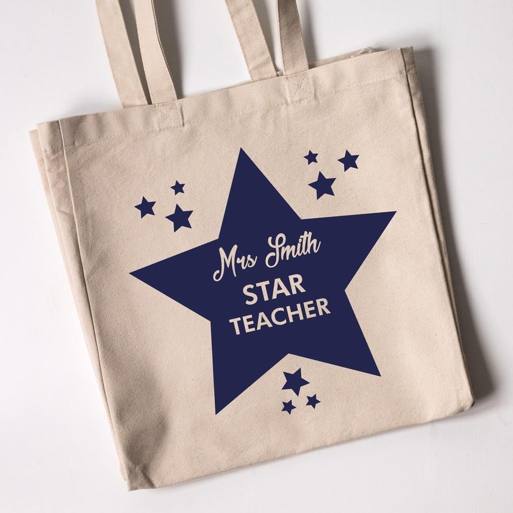Teacher Tote Bag - Star Teacher (Natural)