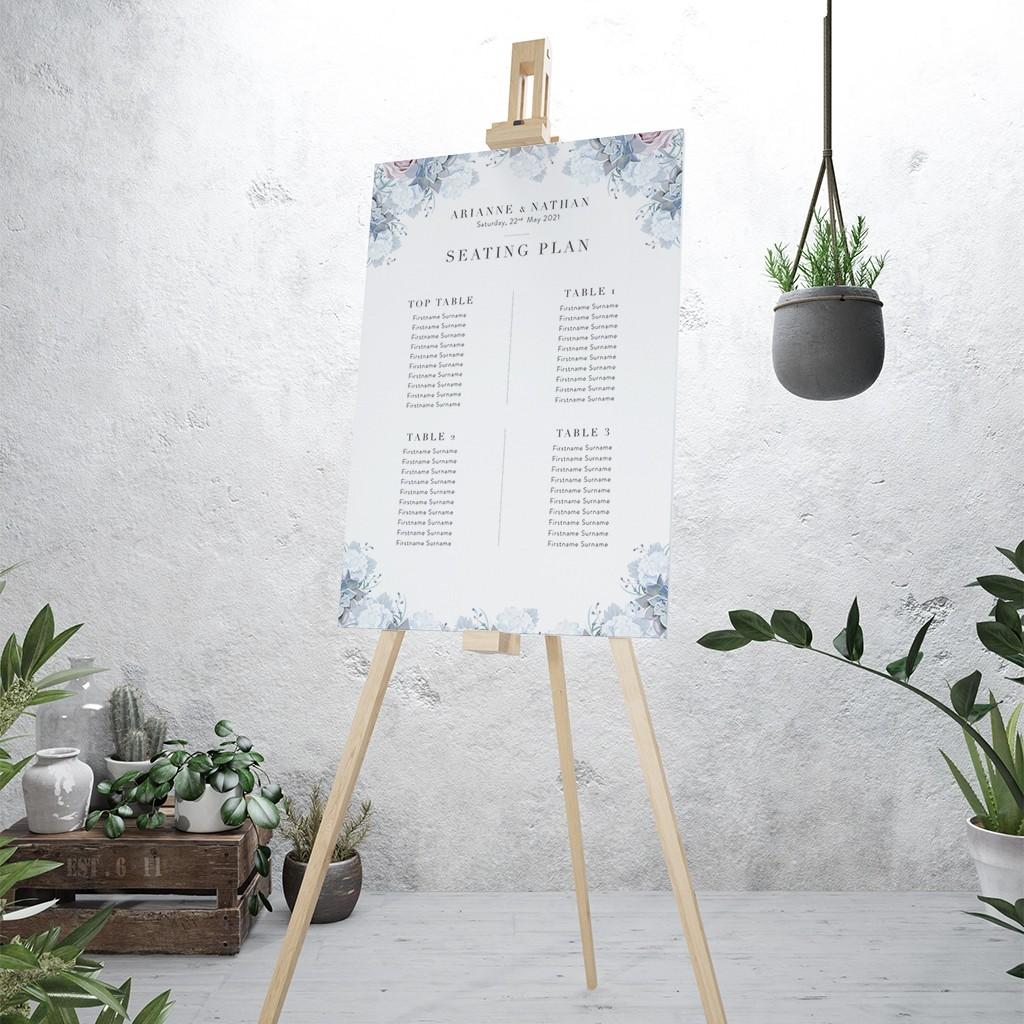 Pastel Floral Personalised Wedding Table Plan
